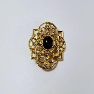 "Vintage Regal Black Faux Stone Gold Brooch 2"""